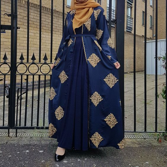 Gold and Blue Embroidered Abaya