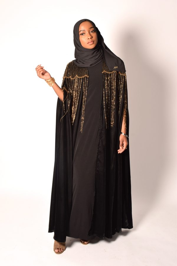 Black Cape With Gold Bead Details
