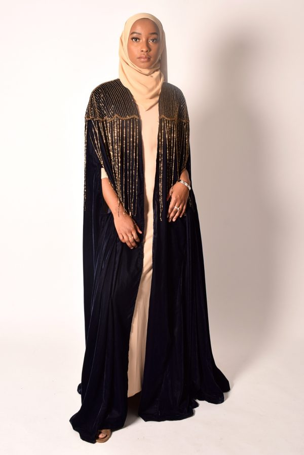 Navy Blue Cape With Gold Bead Details