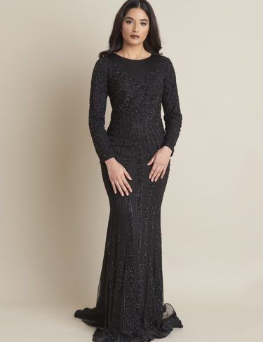 Layla Midnight Black Modest Glitter Dress