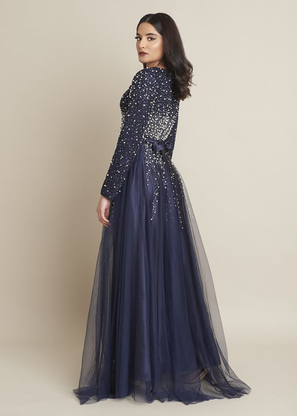 Lula Blue Pearl and Lace Modest Dress