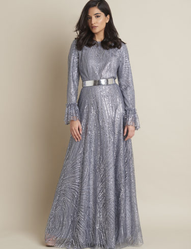 Grey Shimmer Maxi Dress With Ruffles On The Sleeve