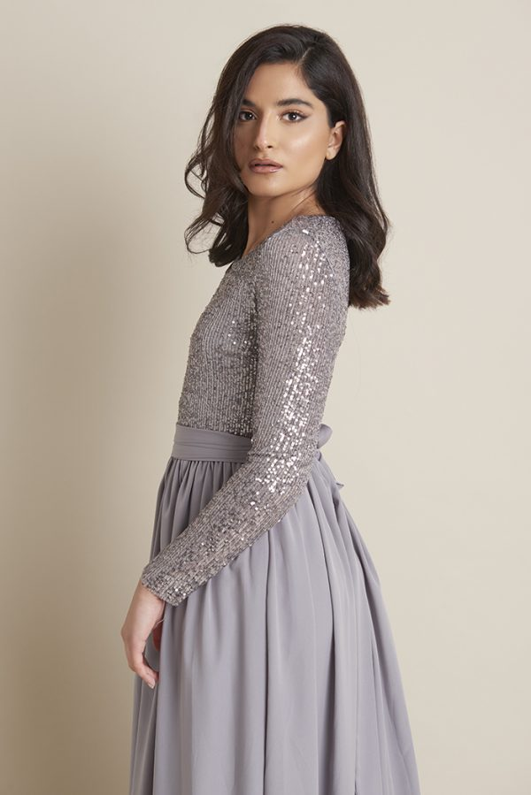 Sarah Grey Sequin Dress With Detached Belt