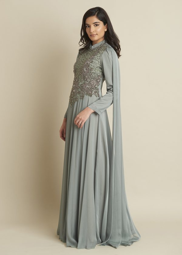 Russian Green Maxi Dress With a Flowy Cape
