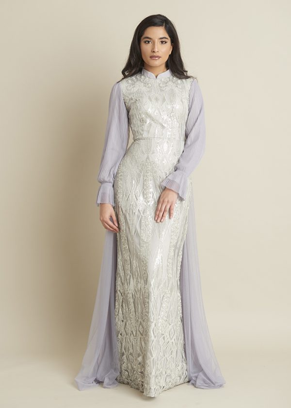 Lula Light Grey Full Sequin Dress