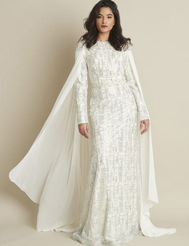 White Cape Pearled Dress