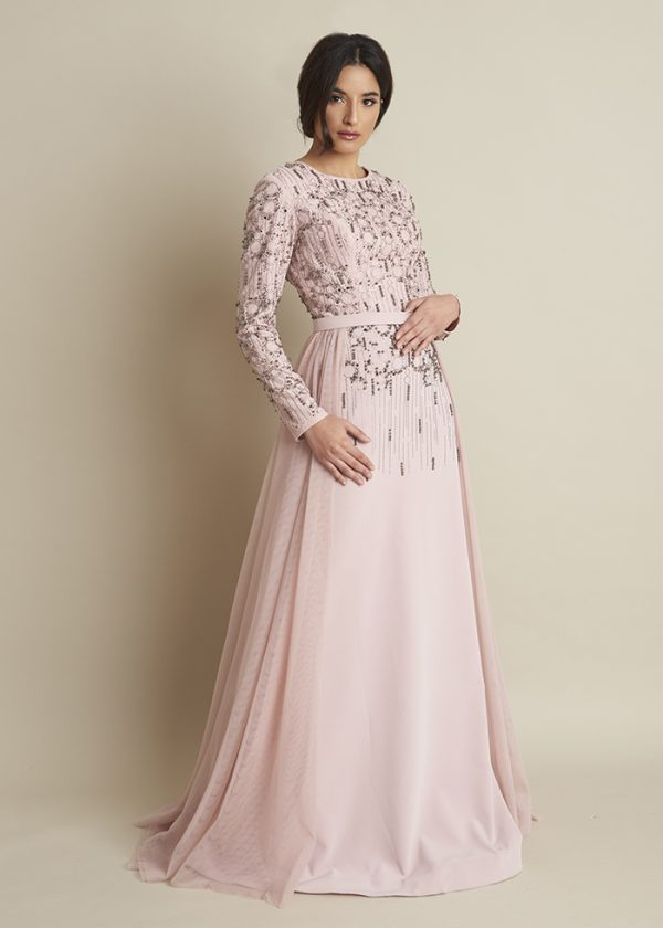 Grey and Pink Dress With Attached Skirt