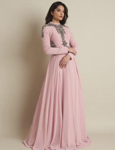 Azhaar Dusty Pink Detailed Dress