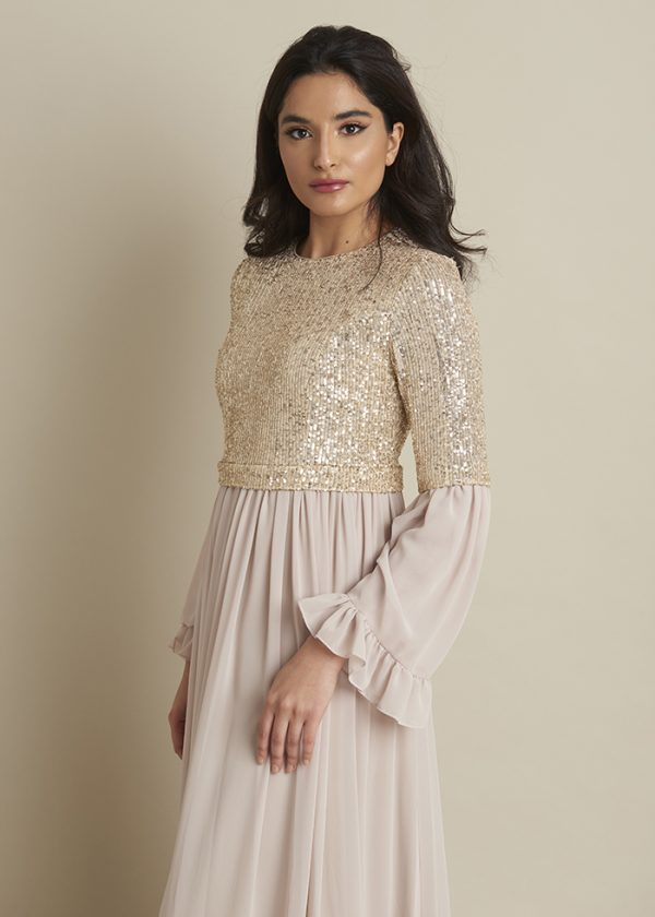 Nude Gold Sequin Dress With Ruffles
