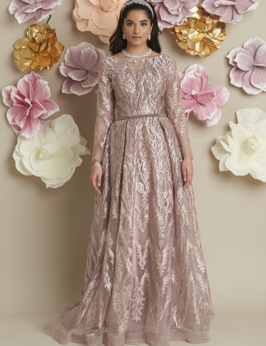 Mai Dusty Pink With Grey Crystal Dress