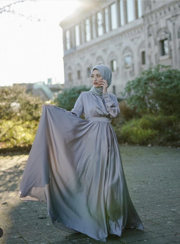 Flowing Dolphin Gray Satin Dress (Plus Size)