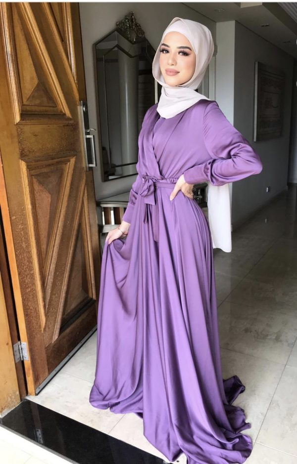 Flowing Purple Satin Dress