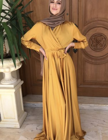 Flowing Mustard Satin Dress