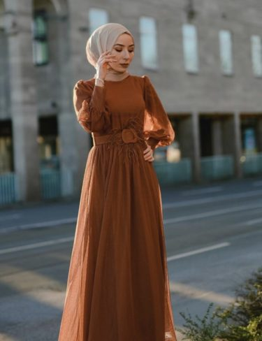 Burnt Orange Feathered Belt Dress
