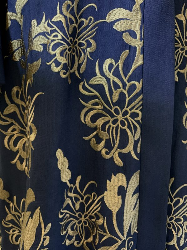 Rich Navy Blue Embroidered Abaya