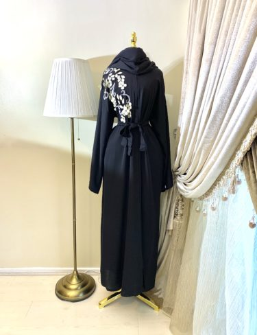 Gorgeous Black Sama White Leaf Abaya
