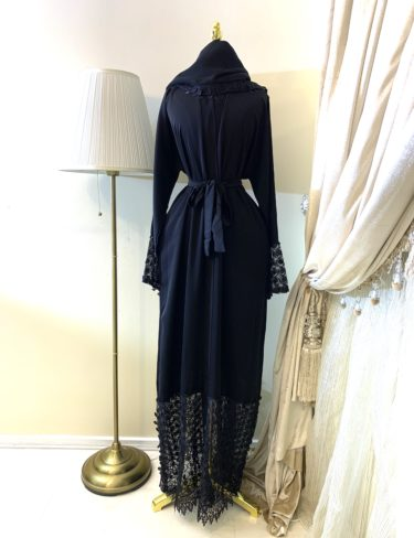 Black High Quality Lace Sally Abaya