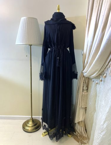Black Lace Embellished Lilyan Abaya