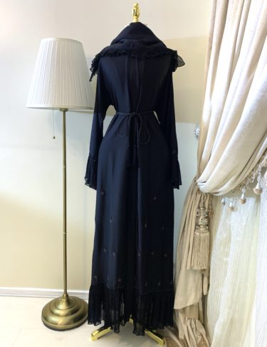 Black and Bronze Embellished Abaya