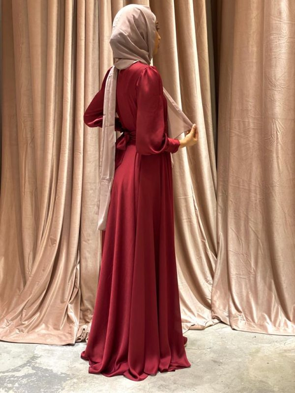 Rich Red Tie Back Silk Dress