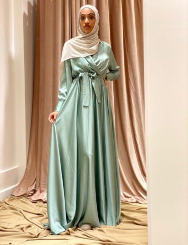 Flowing Mint Satin Dress