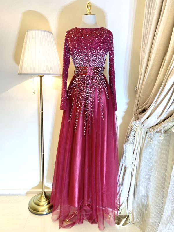 Lula Rich Red Pearl and Lace Modest Dress