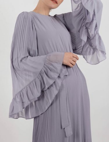 Light Grey Flowy Sleeves Maxi Dress