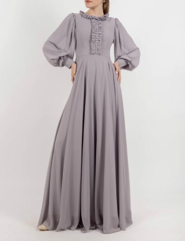 Grey Chiffon Frill Maxi Dress