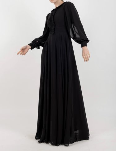 Black Chiffon Frill Maxi Dress