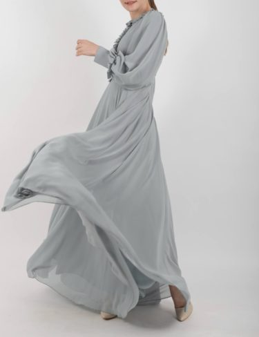 Mint Grey Chiffon Frill Maxi Dress