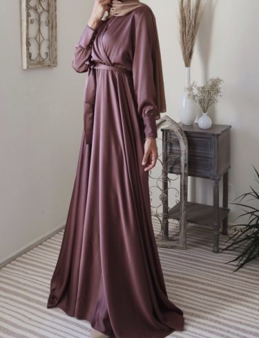 Flowing Old Mauve Satin Dress