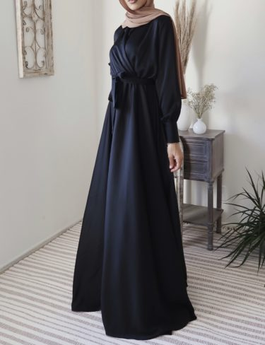 Flowing Black Satin Dress