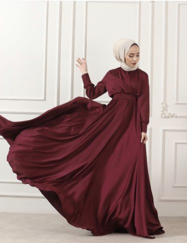 Flowing Burgundy Satin Dress
