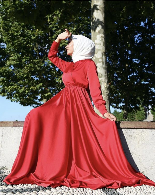 Flowing Red Satin Dress