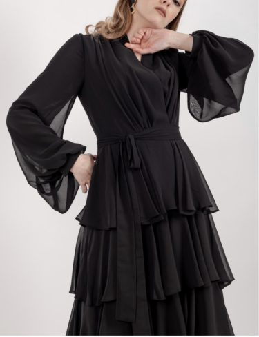 Black Chiffon Ruffle Layer Maxi Dress