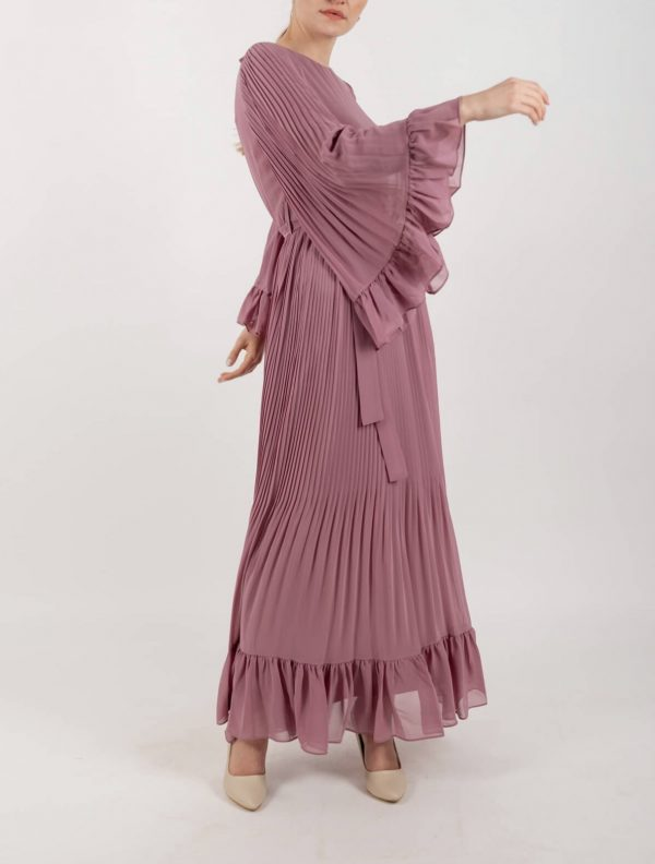 Dusty Pink Flowy Sleeves Maxi Dress