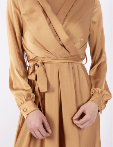Light Ochre Elegant Satin Dress