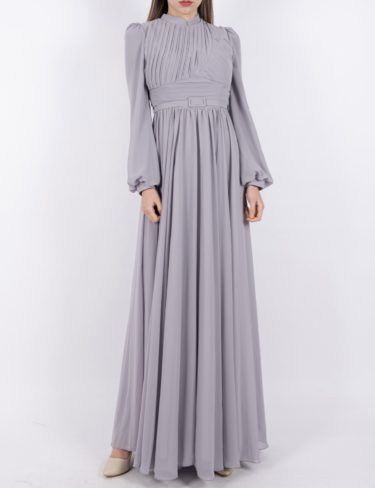 Light Grey Flattering Pleated Chiffon Dress