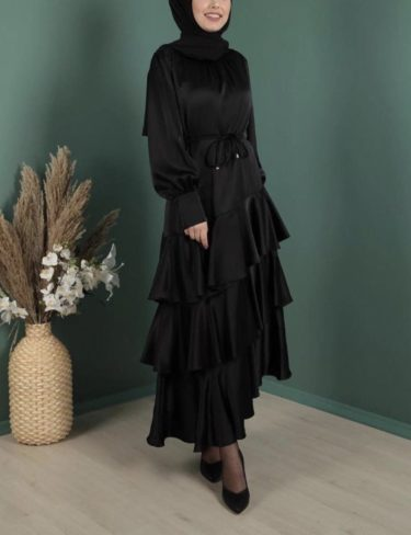 Black Ruffled Silk-Satin Dress