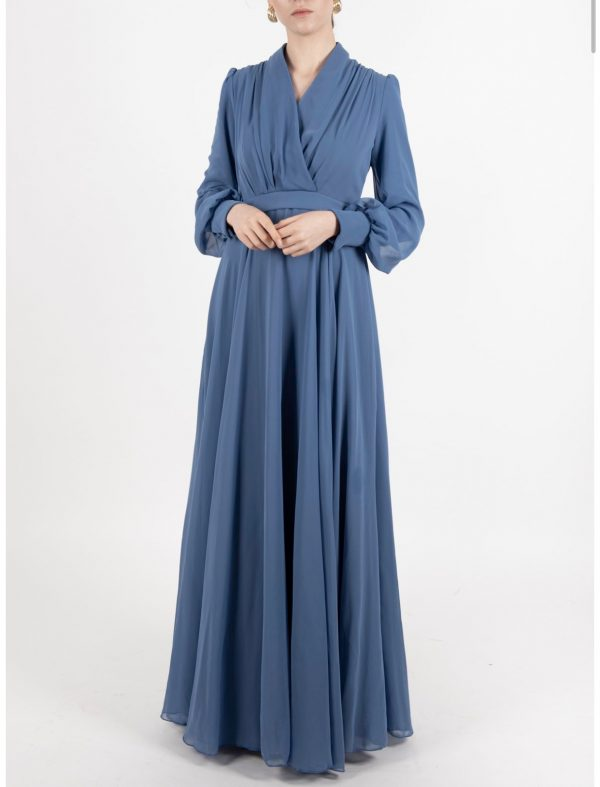 Lake Blue Chiffon Dress With Button Details On The Back
