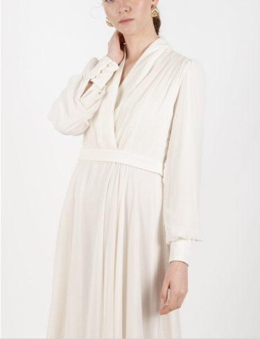 Ivory Chiffon Dress With Button Details On The Back