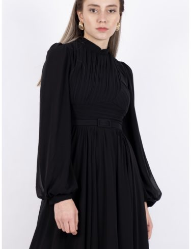 Black Flattering Pleated Chiffon Dress