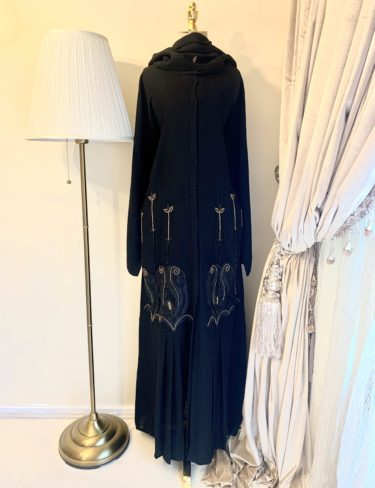 Basma Gold and Black Front Embellished Abaya