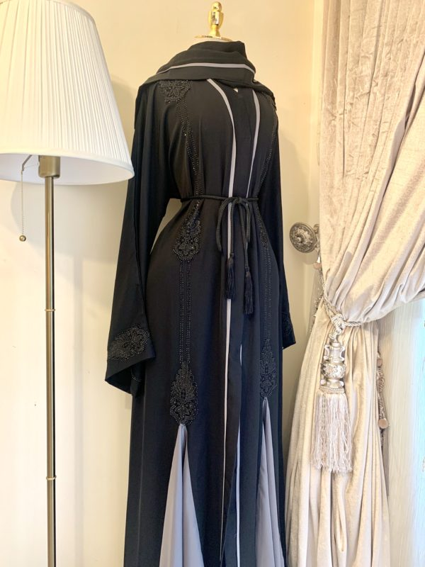 Black Lilyan Abaya With a Grey Front Frill