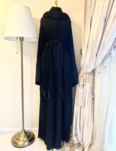 Simi Black Leaf Pattern Abaya