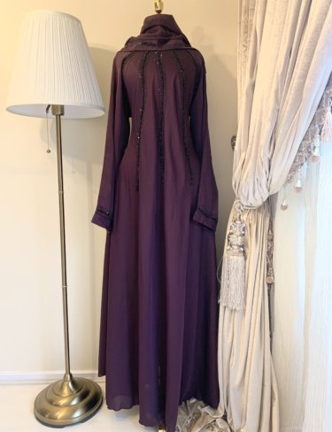 Rich Purple Lina Abaya With Black Embroidery
