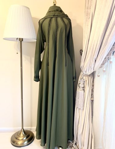 Green Lina Abaya With Black Embroidery