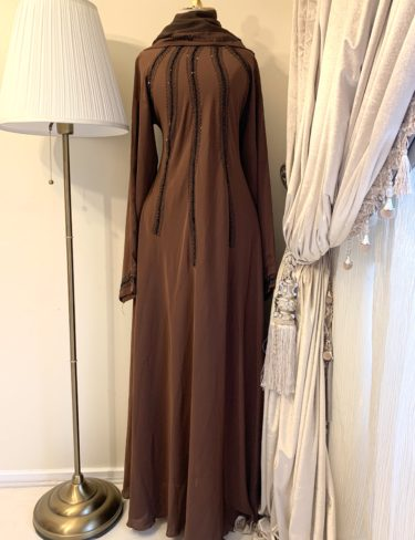 Brown Lina Abaya With Black Stone Work