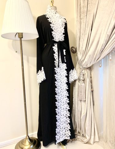 Black Mariyah Abaya With White Crochet