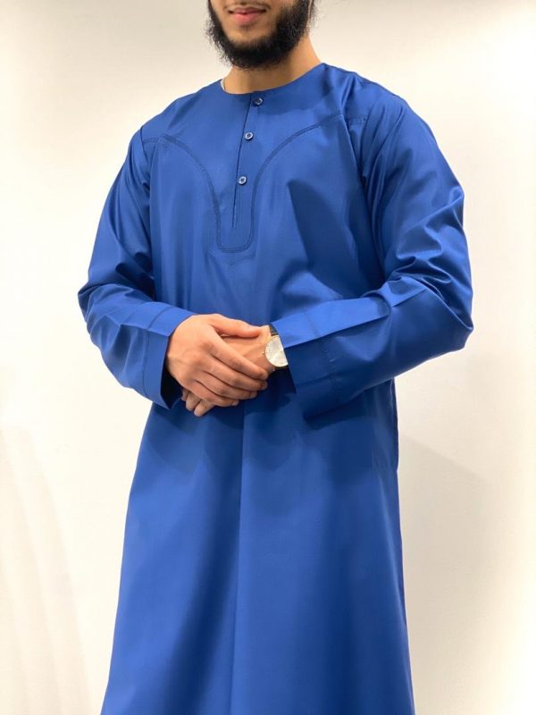 Royal Blue Omani Thobe With Buttons On The Front